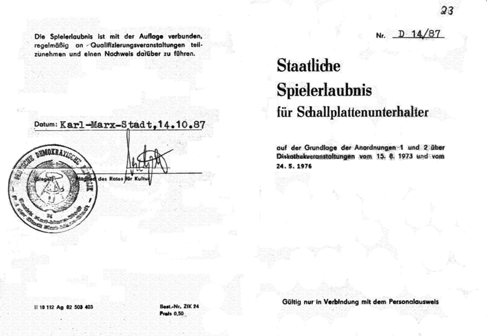 staatliche Spielerlaubnis der DDR